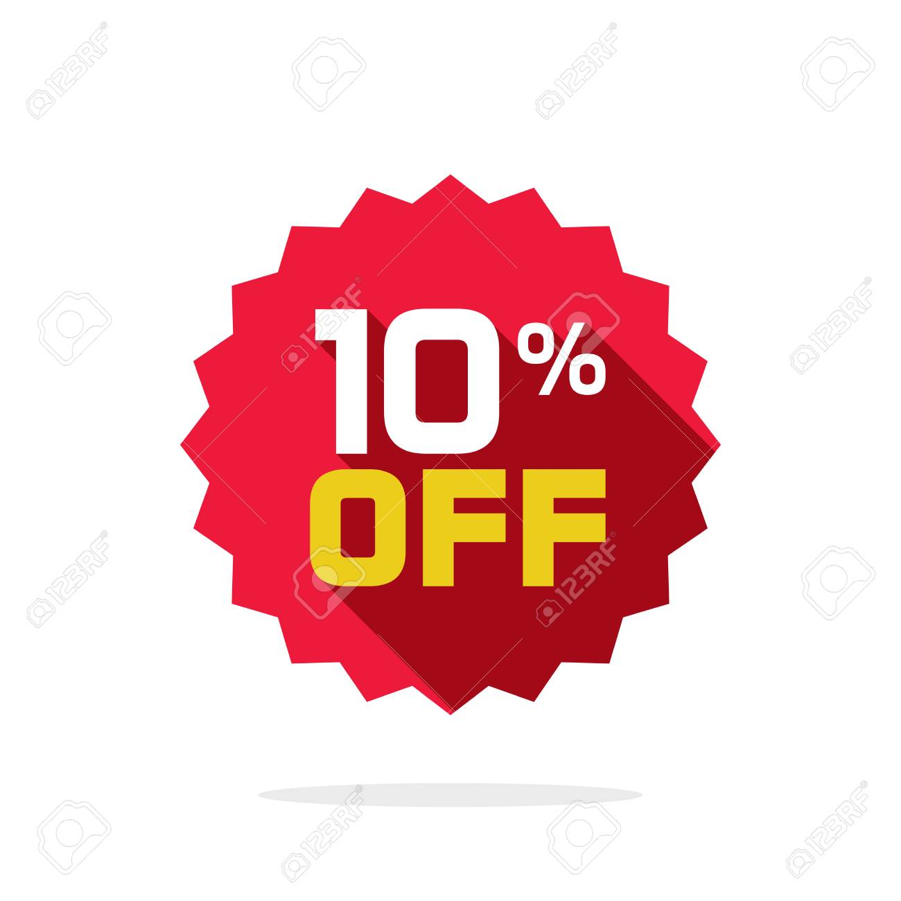 Sale tag vector badge template, 10 off sale label symbol, 10 percent discount promotion flat icon with long shadow, clearance sale sticker emblem, bargain red sign rosette design isolated on white - 87662192