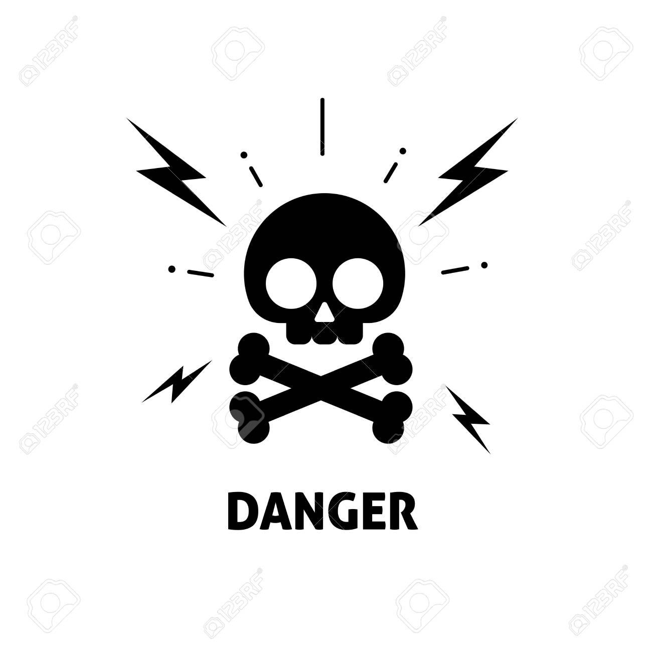 Electrical Hazard Sign Vector Illustration, Flat Cartoon Electric ...