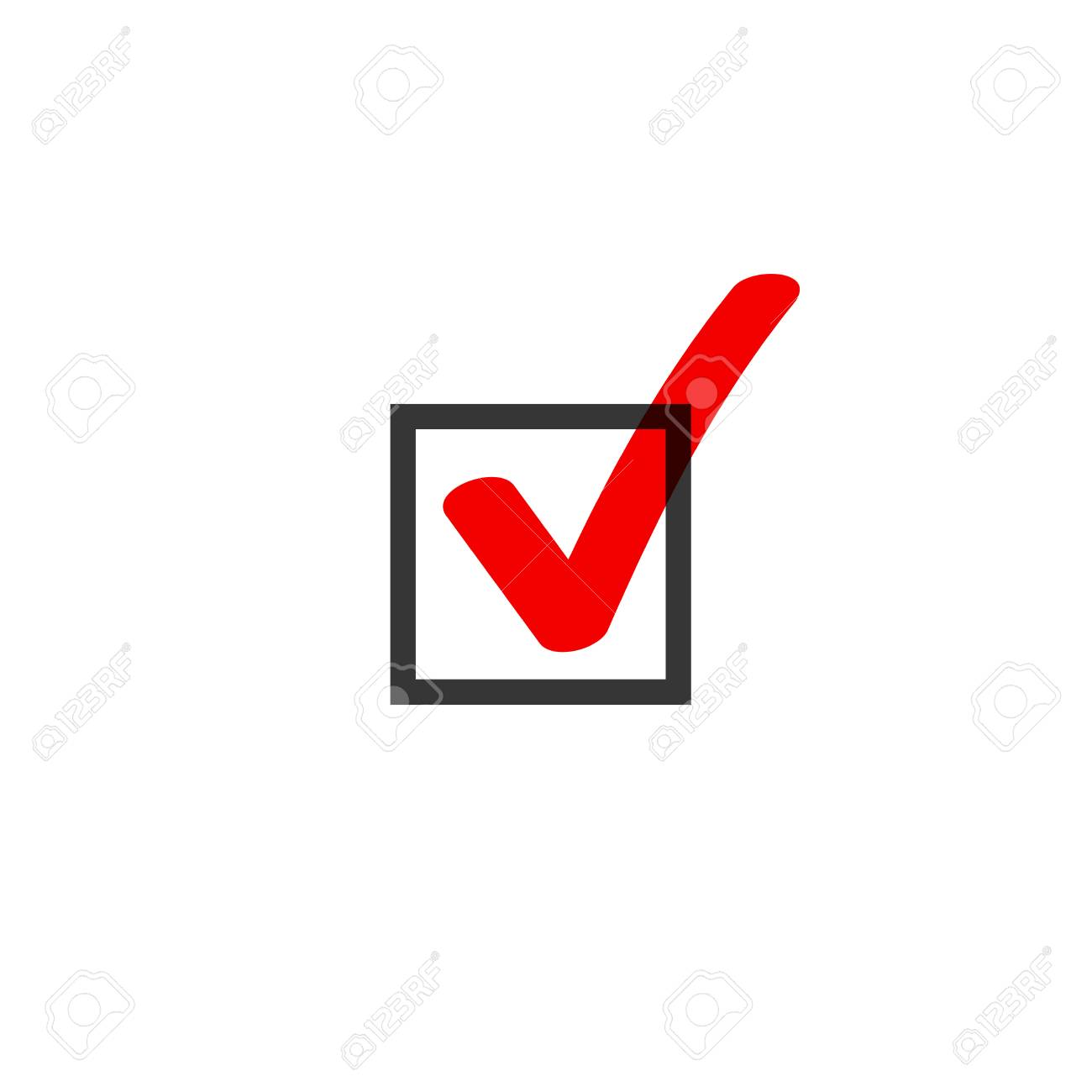 Tick icon vector symbol doodle style, red checkmark isolated on white background, checked icon or correct choice sign in black square, handwritten or drawn check mark or checkbox pictogram - 87763054