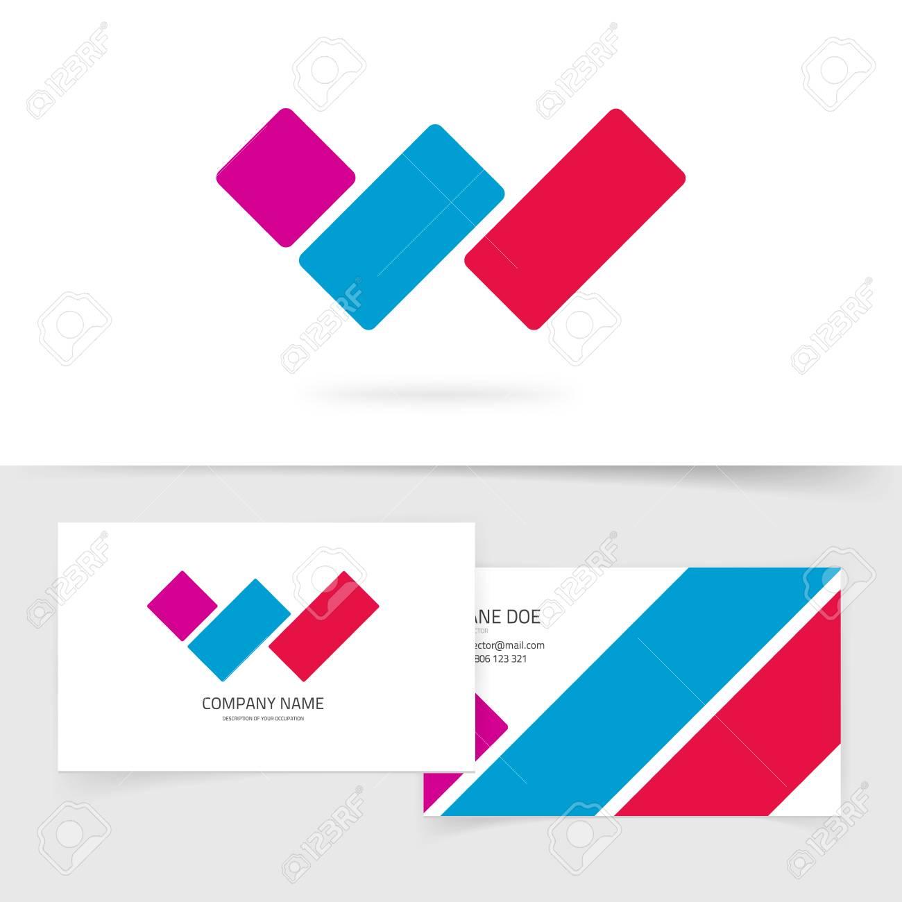 Concept De Vecteur Lettre W Icne Avec Carte Visite Symbole Dicne Dgrad Couleur Rouge Bleu Violet Sur Fond Blanc Ide Signe Marque