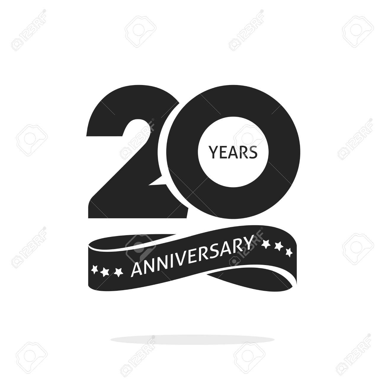 20 Jaar Verjaardag Pictogrammalplaatje Geisoleerd Op Wit Zwart En
