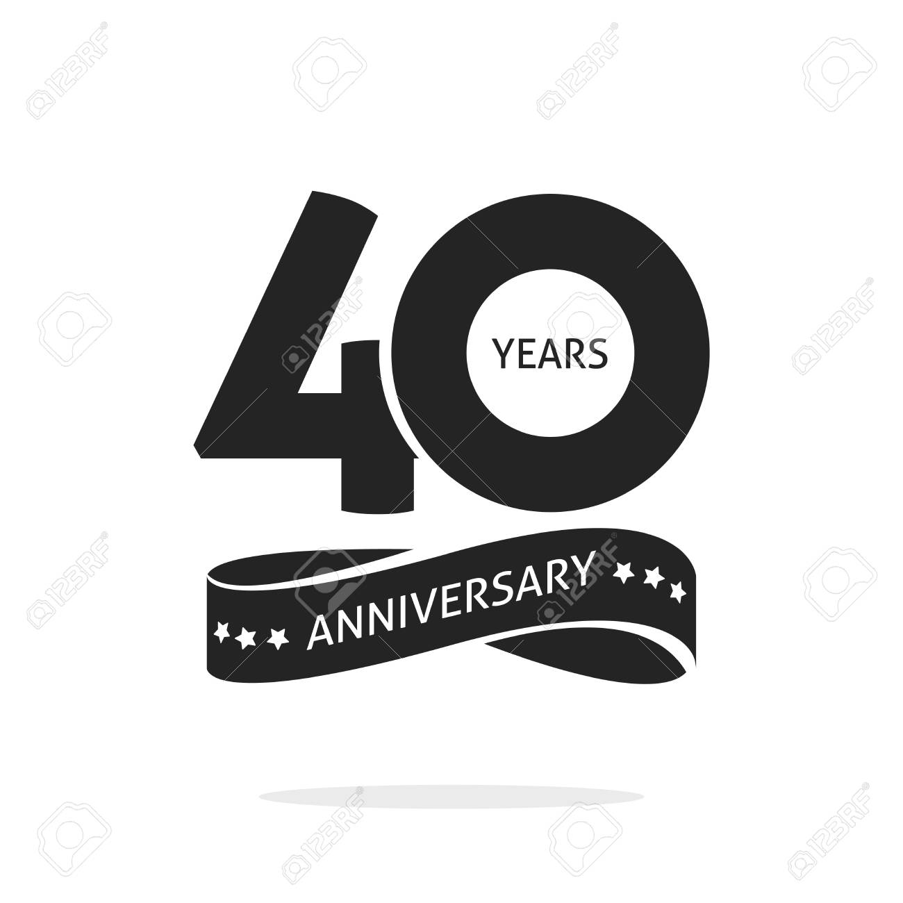 40 Years Anniversary Logo Template Isolated On White Black And