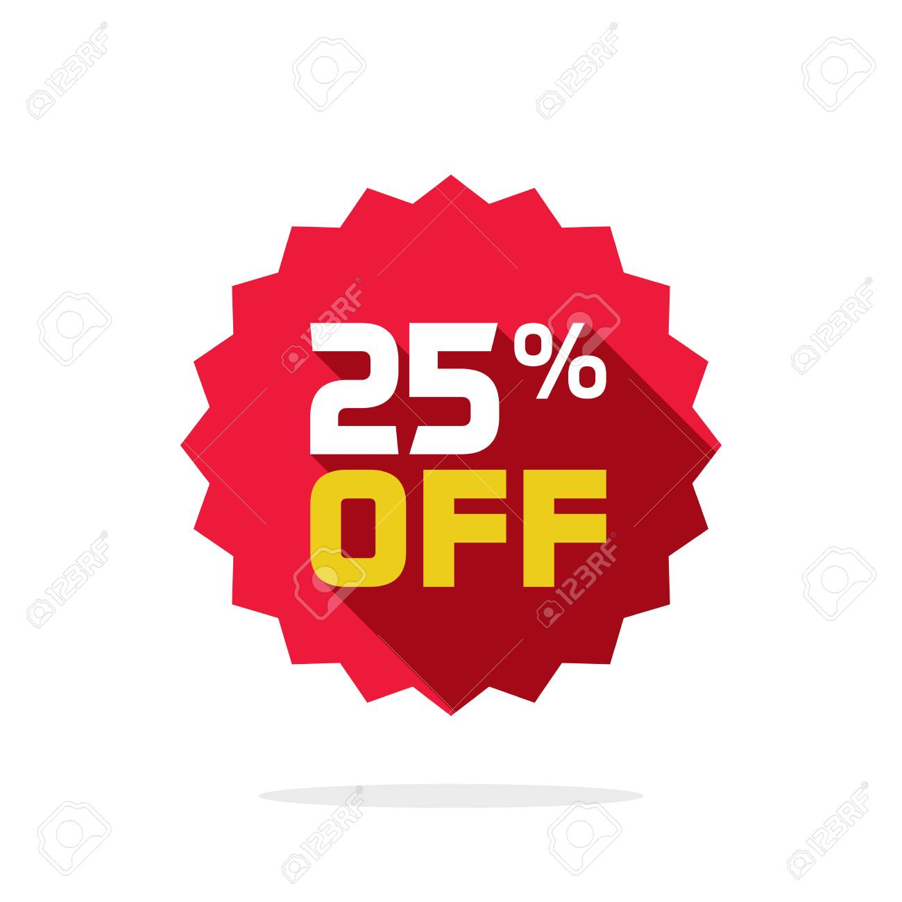 Sale tag vector badge template, 25 percent off sale label symbol, 25 discount promotion flat icon with long shadow, clearance sale sticker emblem, bargain red sign rosette design isolated on white - 91439884