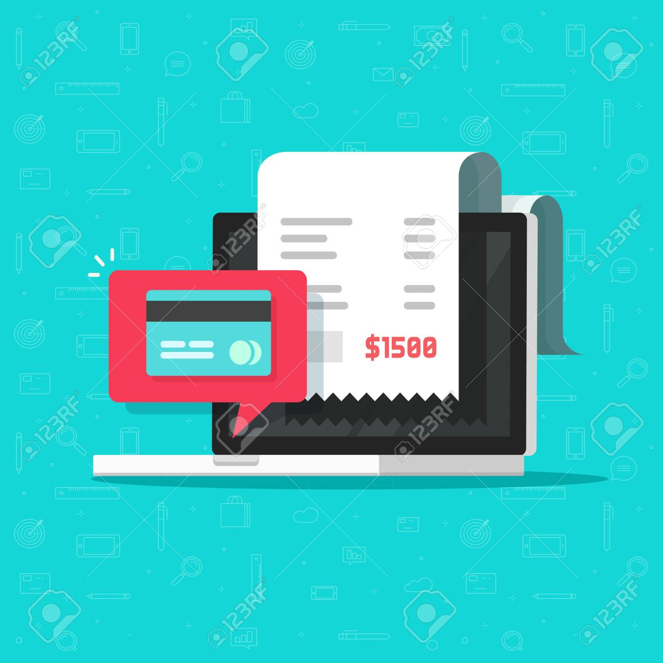 Online payment on computer vector illustration, flat cartoon big pay bill tax via credit card and laptop pc concept, financial accounting, electronic payment notification with digital receipt - 93465507