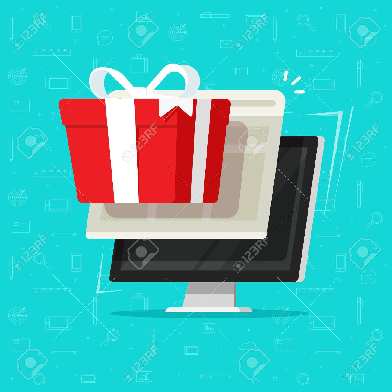 Gift from computer vector illustration, flat cartoon desktop pc and online digital gift box, concept of on-line bonus prize or internet promo reward, surprise received, electronic win or award - 94119642