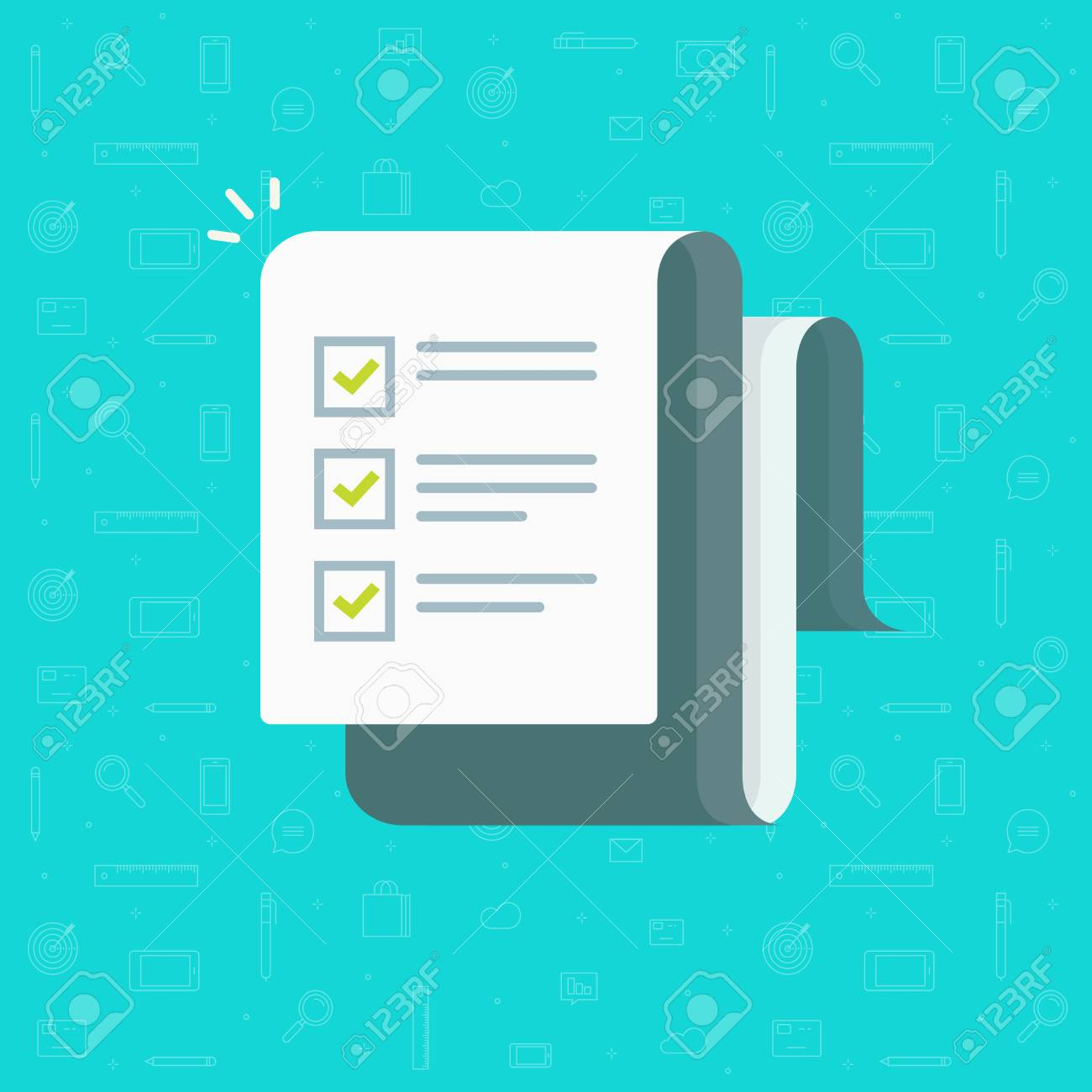 Checklist vector illustration, flat cartoon paper sheet with complete to do list checkmarks, idea of feedback report, success research, survey or questionnaire test form, assess or evaluation document - 96799233