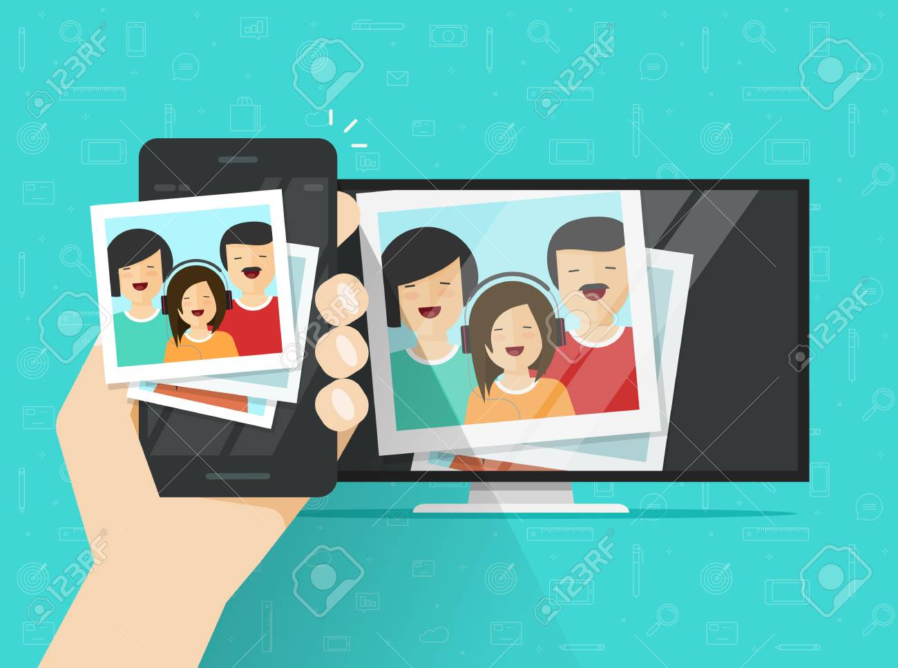 Smartphone Connected To Tv Showing Photos Vector Illustration ...