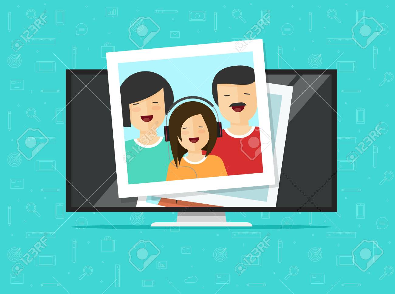 TV flat screen with photo cards vector illustration, flat cartoon computer lcd monitor or led television display showing photos, idea or media player, digital photography album gallery online - 97180237