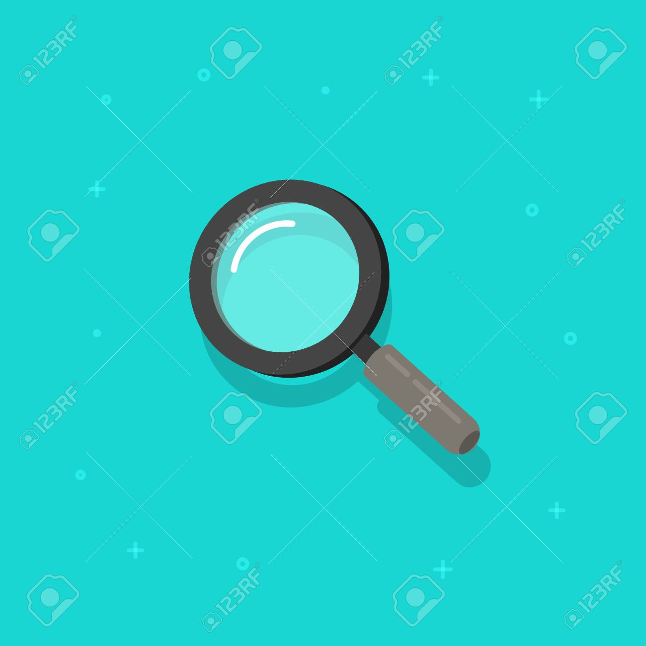 Magnifying glass vector icon, flat cartoon magnifier - 97376579