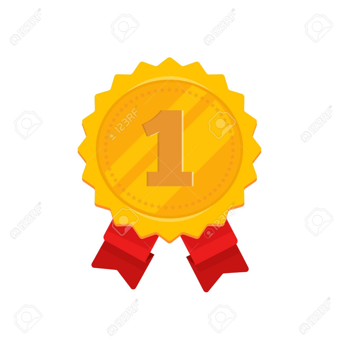 Golden Medal With 1st Place Vector Illustration Flat Cartoon Royalty Free Cliparts Vectors And Stock Illustration Image 102868880