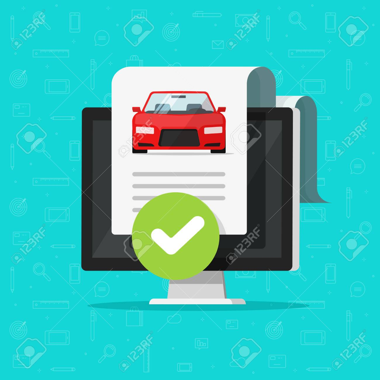 Free Car History Report >> Car History Check Or Report Document Approved On Computer Vector