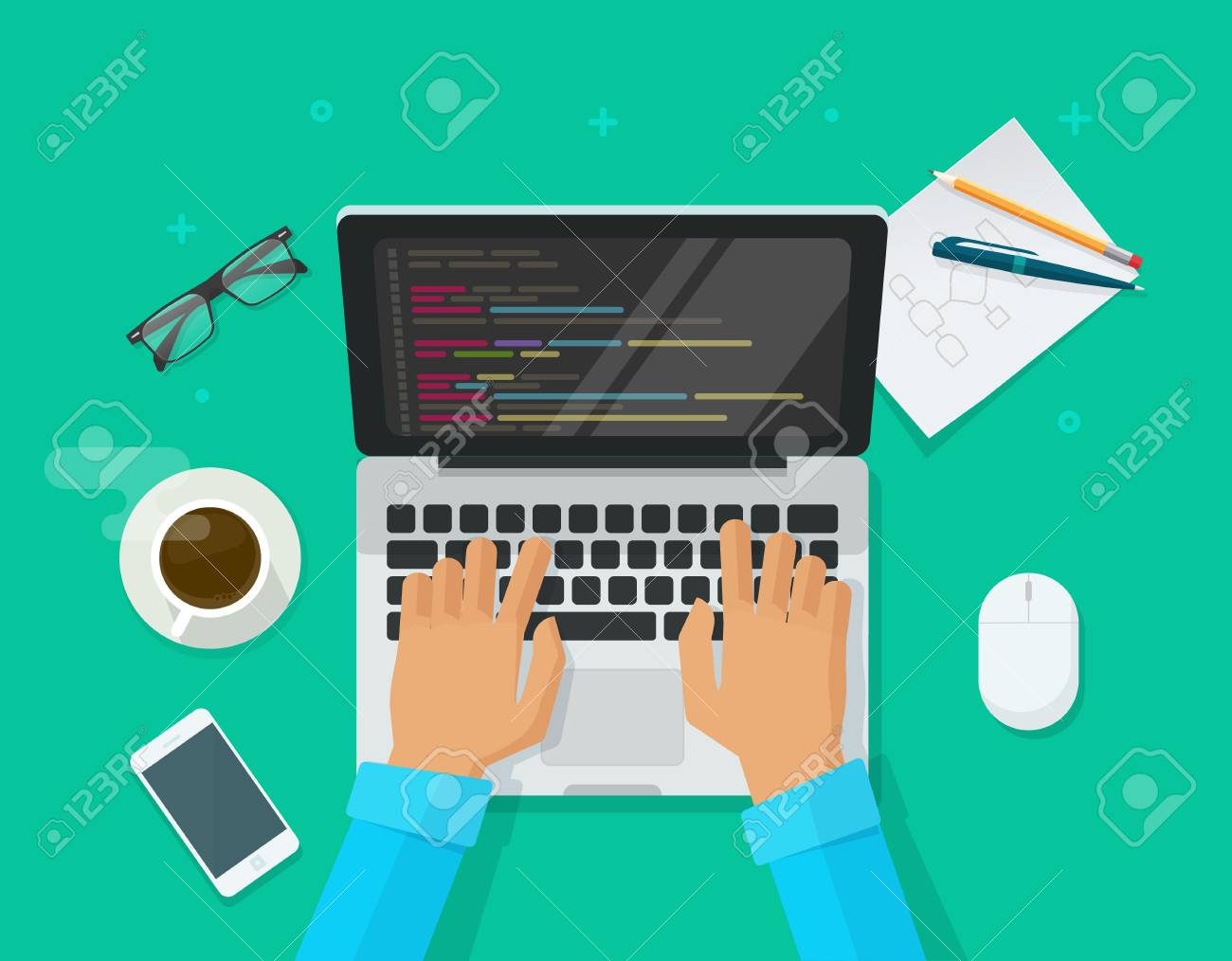 Programmer coding on laptop computer on work desk vector illustration, cartoon flat freelancer sitting on working table and programming code on pc, web developer table top view - 112699814