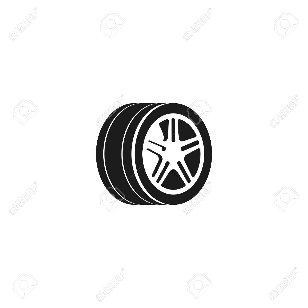 bb8adc4f59f3db Vector - Wheel car vector icon isolated on white background, tire icon,  black and white tire element, simple flat car wheel with tire and disk  symbol design