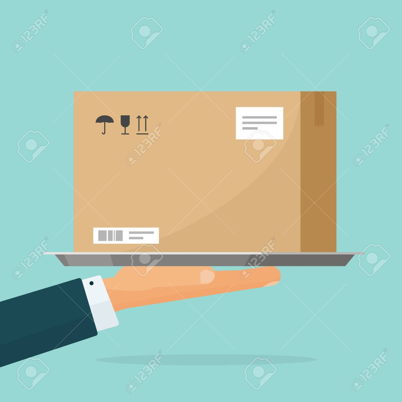 Courier deliver parcel box vector illustration, flat cartoon person hand holding carton package, concept of delivering service - 120161887