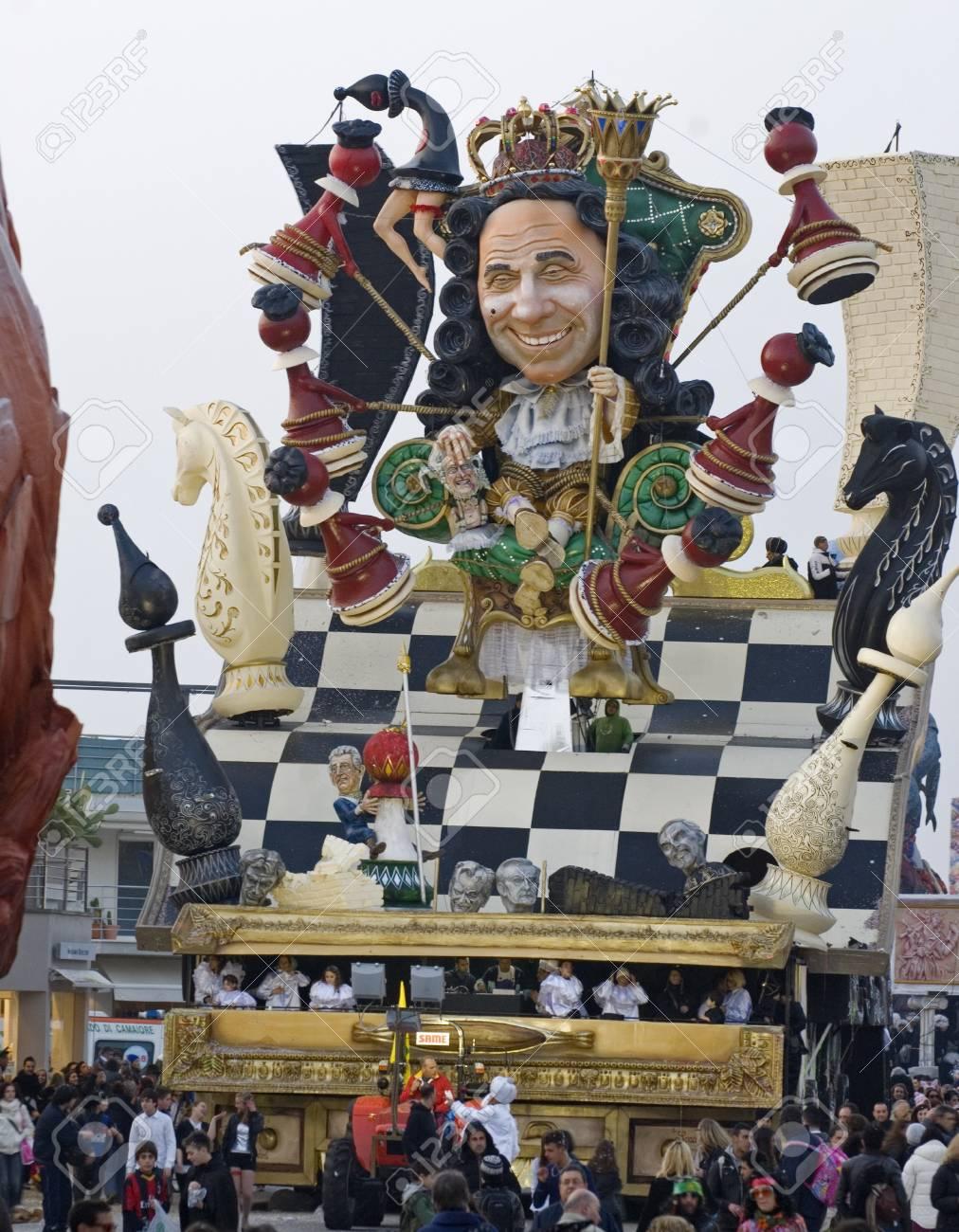 VIAREGGIO, ITALY - MARCH 4  One of the carnival floats in the famous carnival of Viareggio, on March 4, 2012, in Viareggio, Italy   Stock Photo - 13096422