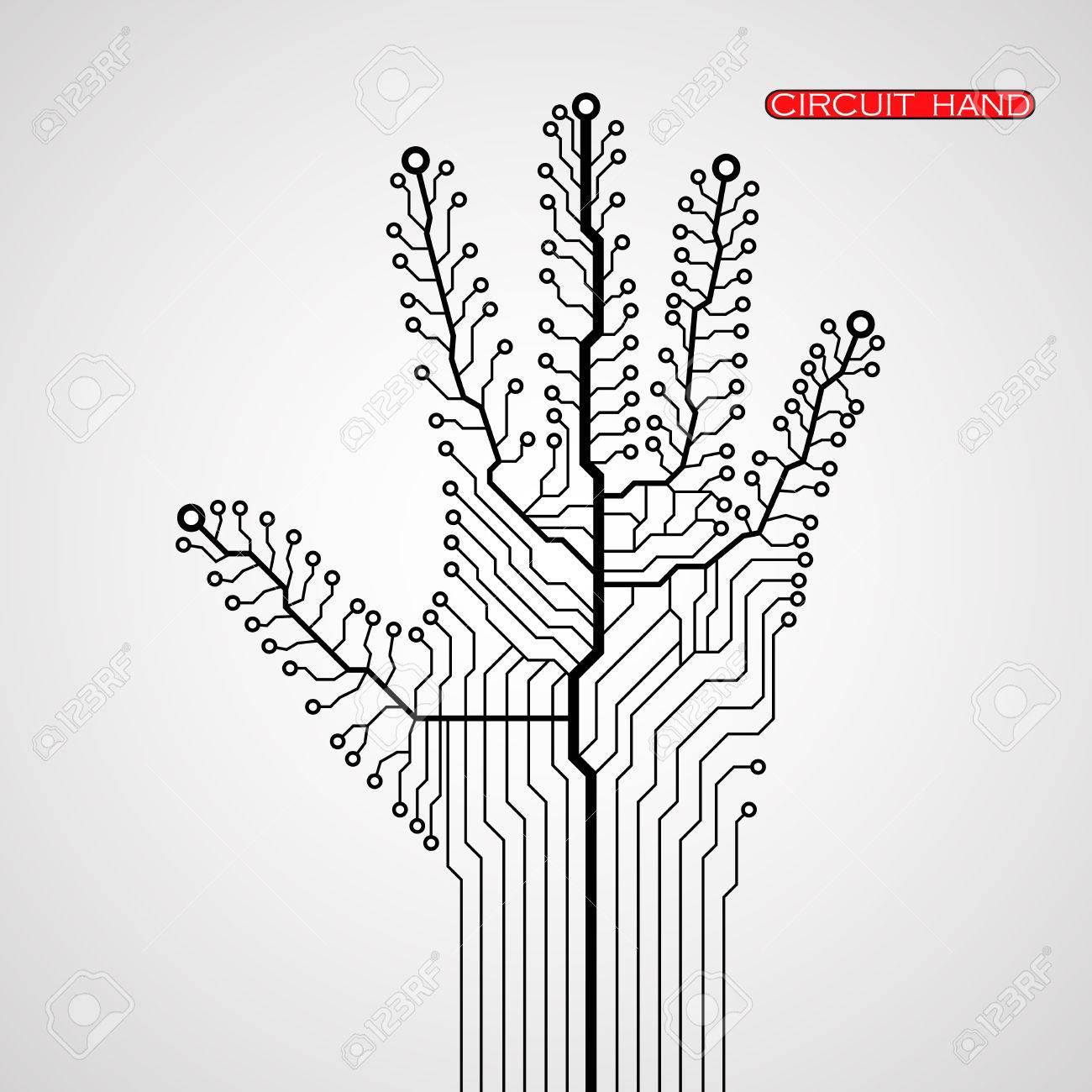 Circuito Vascular : Circuit abstract hand. vector illustration. eps 10 royalty free