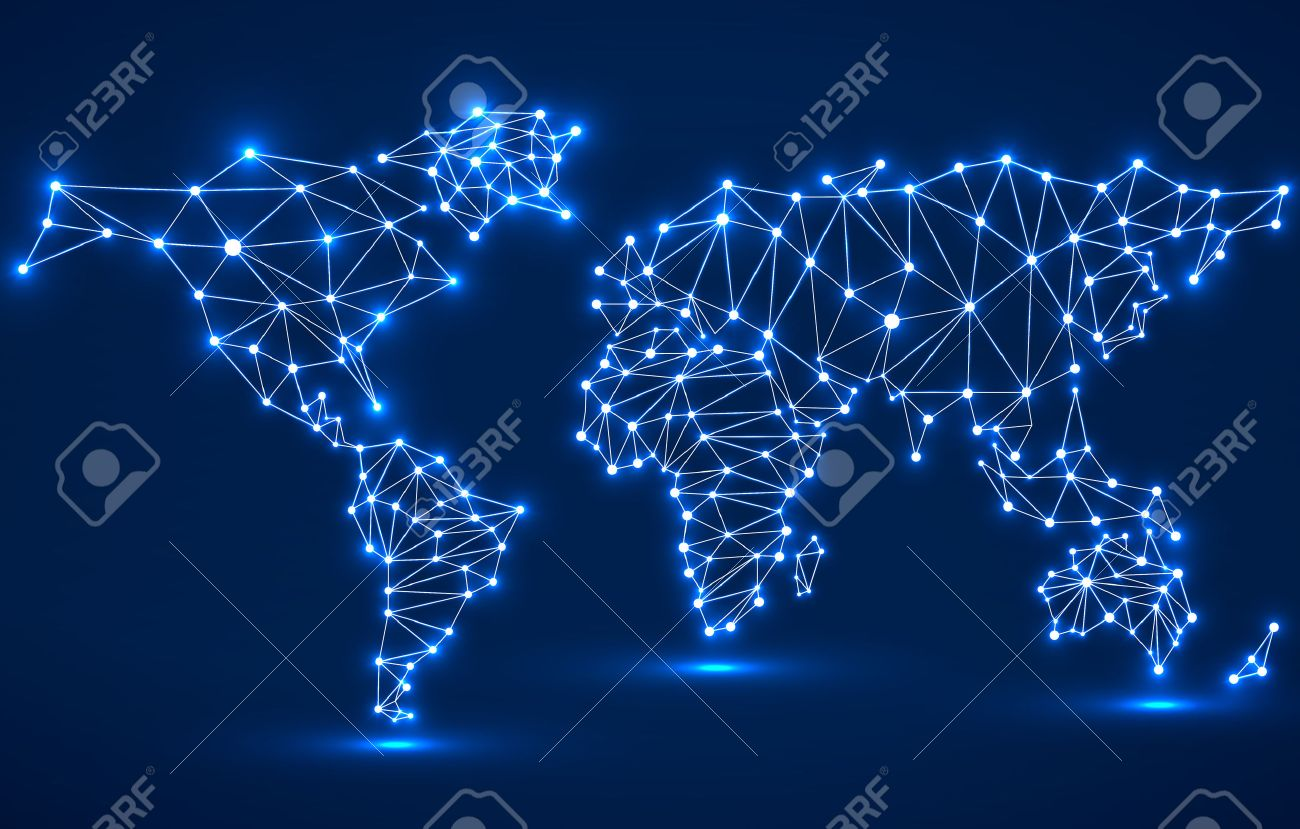 Abstract polygonal world map with glowing dots and lines network abstract polygonal world map with glowing dots and lines network connections vector illustration gumiabroncs Image collections