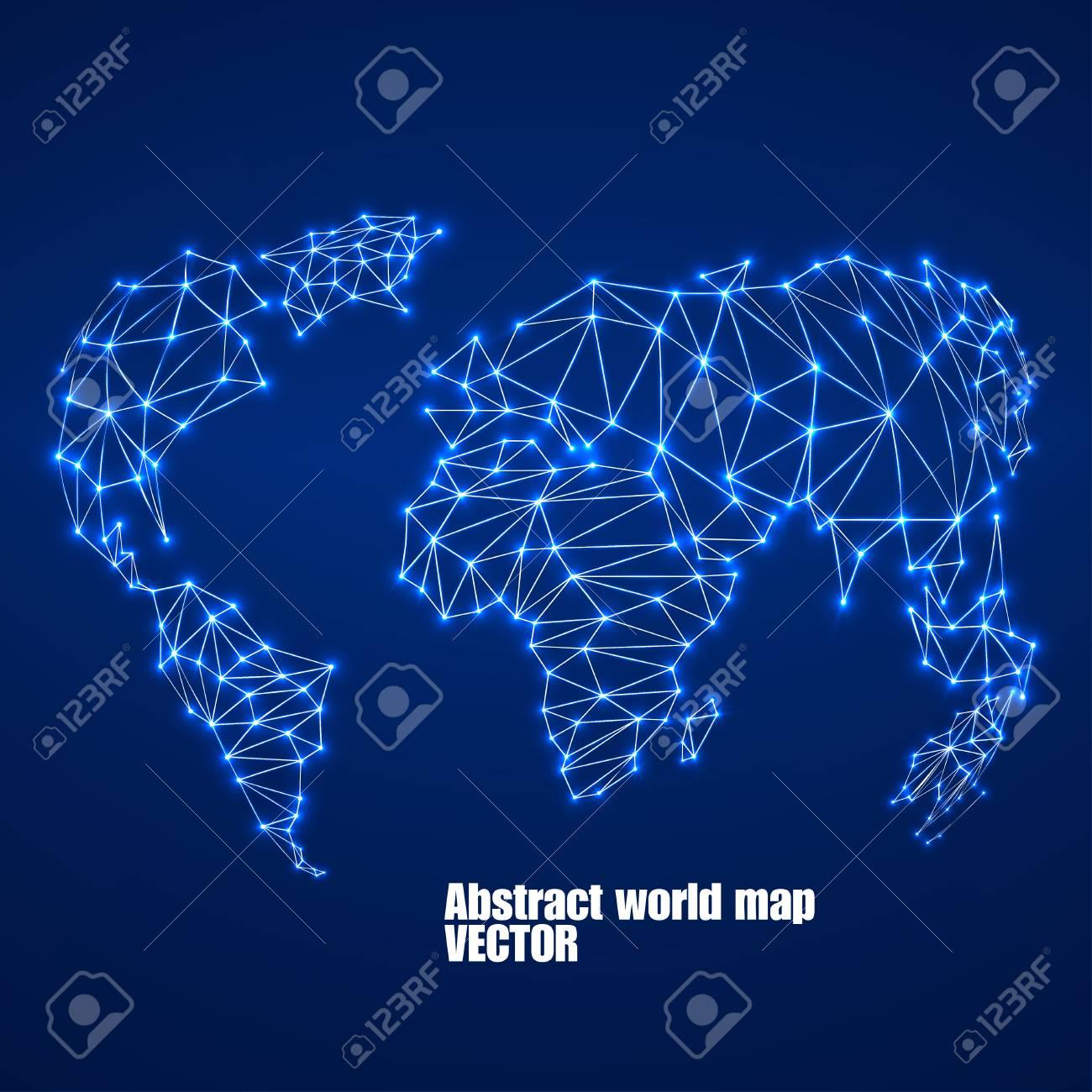Carte Du Monde Lumineuse.Carte Du Monde Polygonale Abstraite Avec Des Points Lumineux Et Des Lignes Des Connexions Reseau Illustration Vectorielle Eps 10