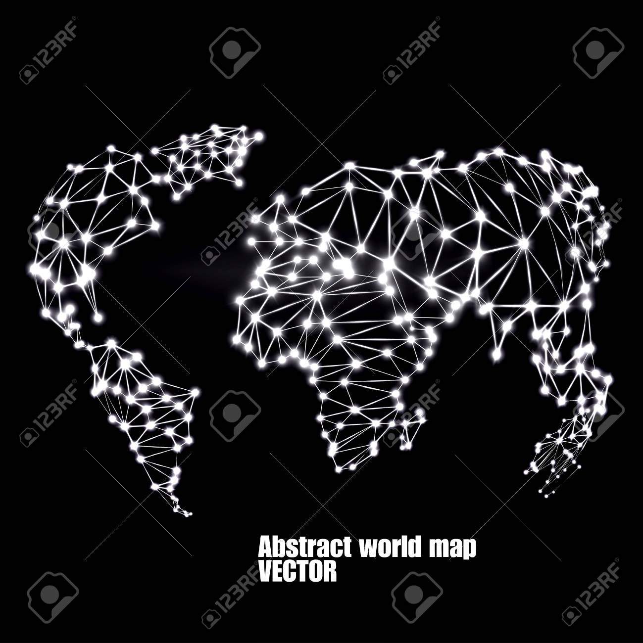 Abstract polygonal world map with glowing dots and lines network abstract polygonal world map with glowing dots and lines network connections vector illustration gumiabroncs Images