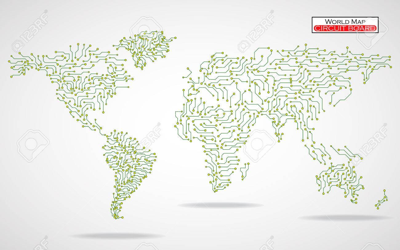 Circuito Vascular : World map. circuit board. technology background. vector illustration