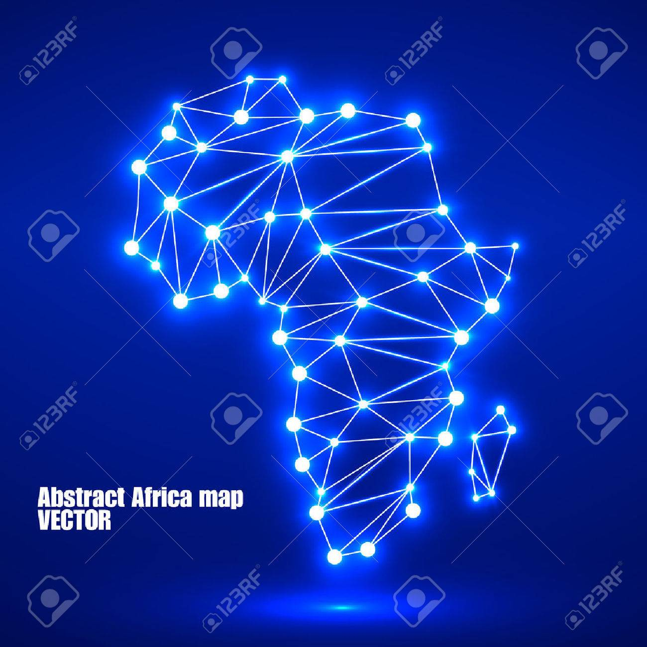 Abstract polygonal Africa map with glowing dots and lines, network connections. Vector illustration. Eps 10 - 52045716