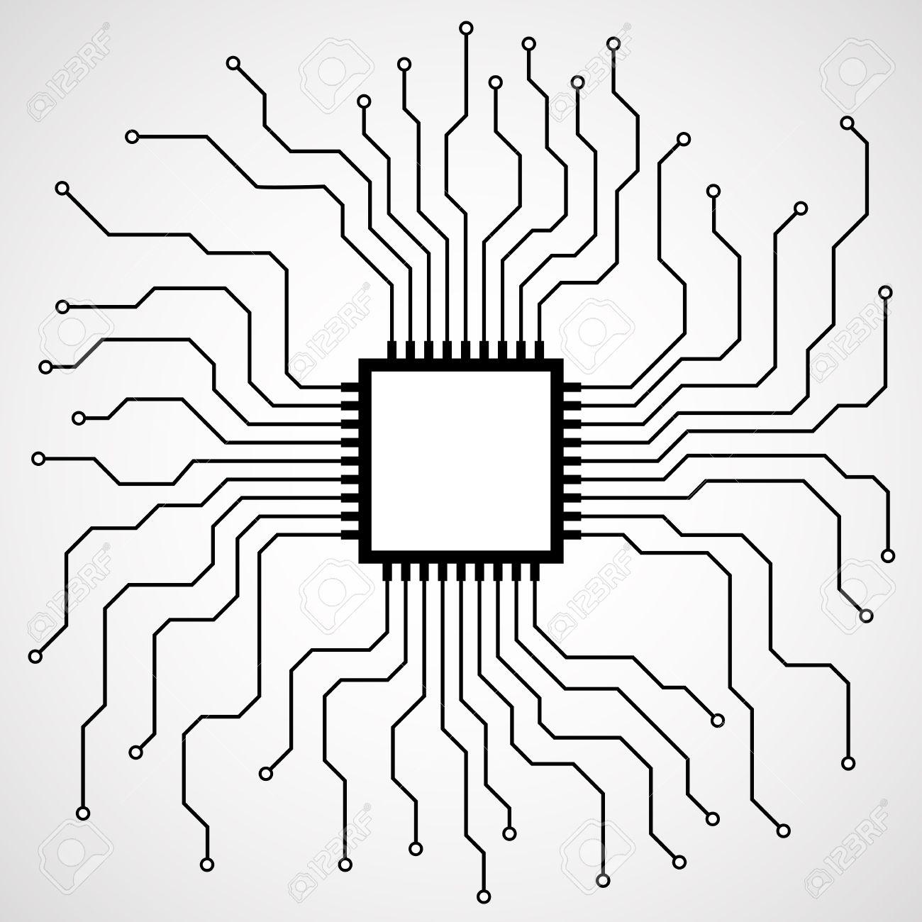 Cpu. Microprocessor. Microchip. Circuit Board. Vector Illustration ...