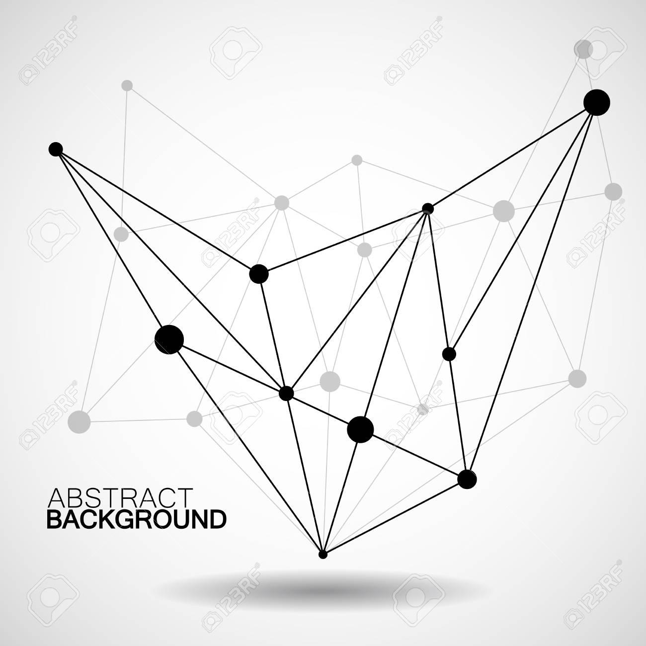 Estructura Metálica De Malla Con El Punto Y La Línea Conexión De Red Forma De Resumen