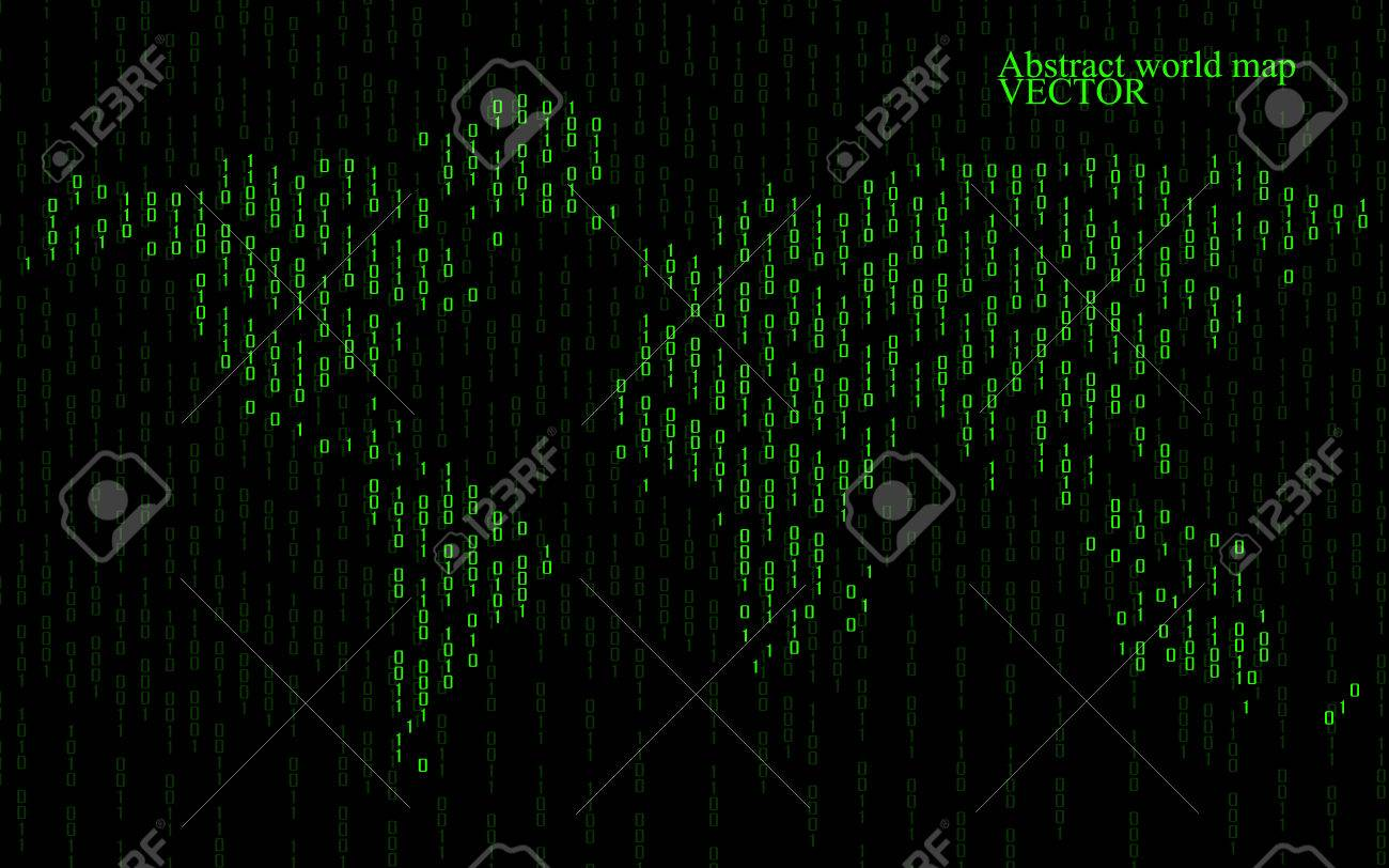 Abstract world map of binary computer code technology background abstract world map of binary computer code technology background stock vector 60720509 gumiabroncs Image collections