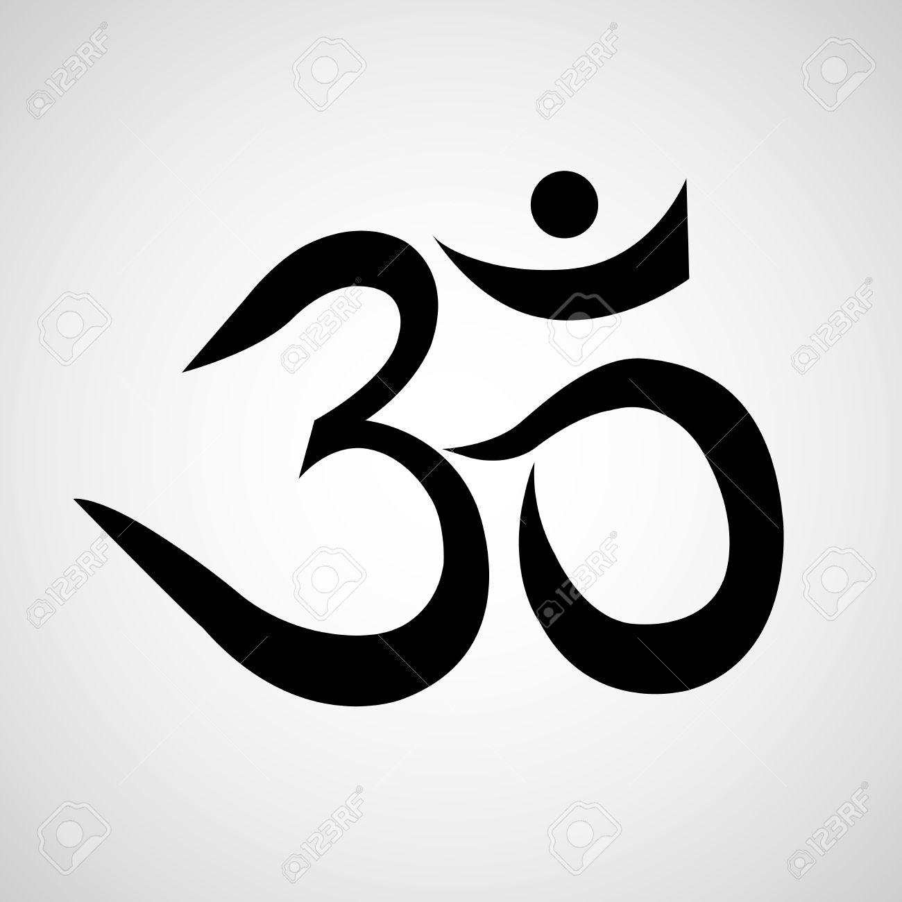 Om Oder Aum Zeichen Auf Weissem Hintergrund Symbol Des Buddhismus
