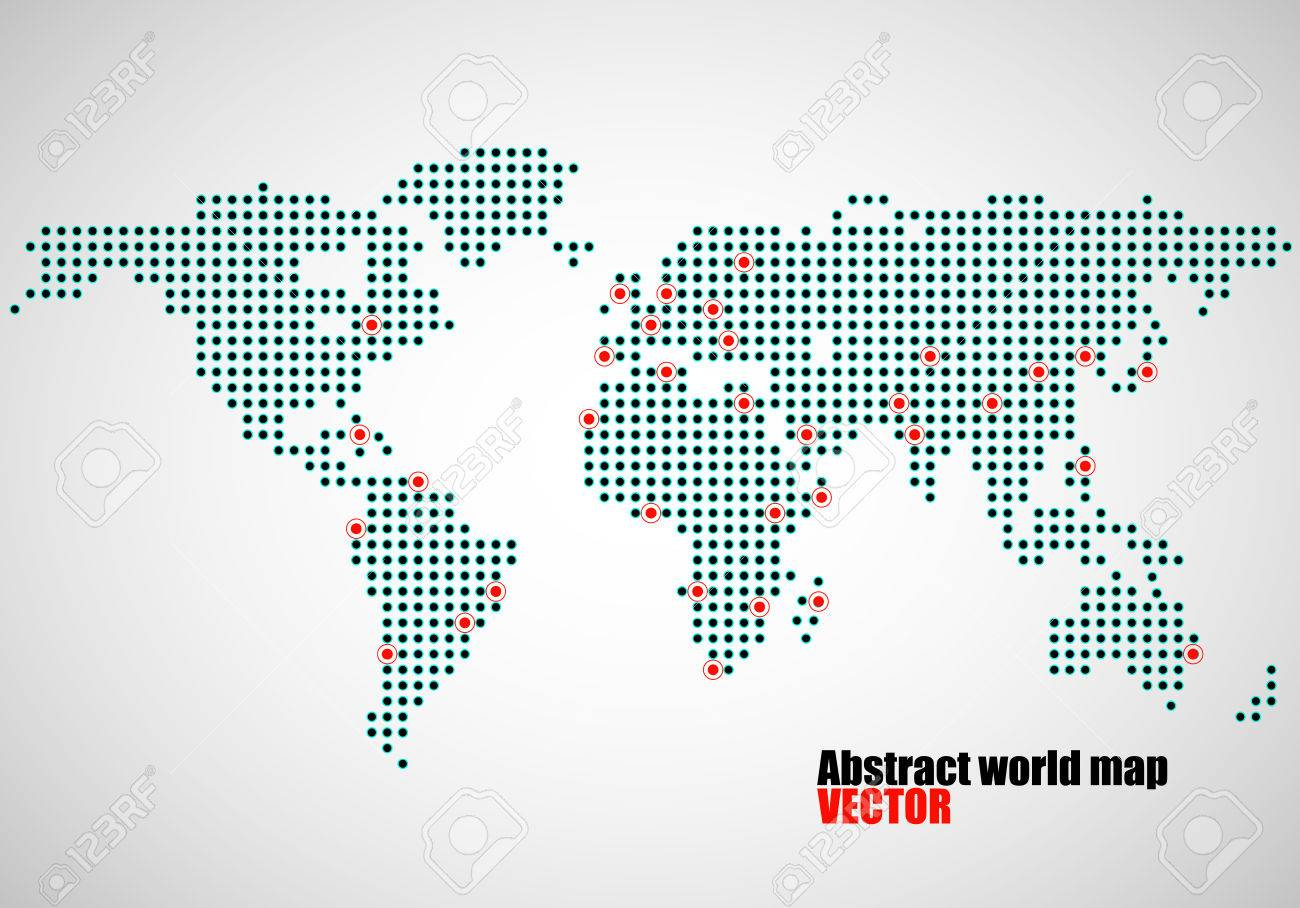 World Map With Capitals Of Countries.Abstract World Map Of Dots Capitals Countries Vector Illustration