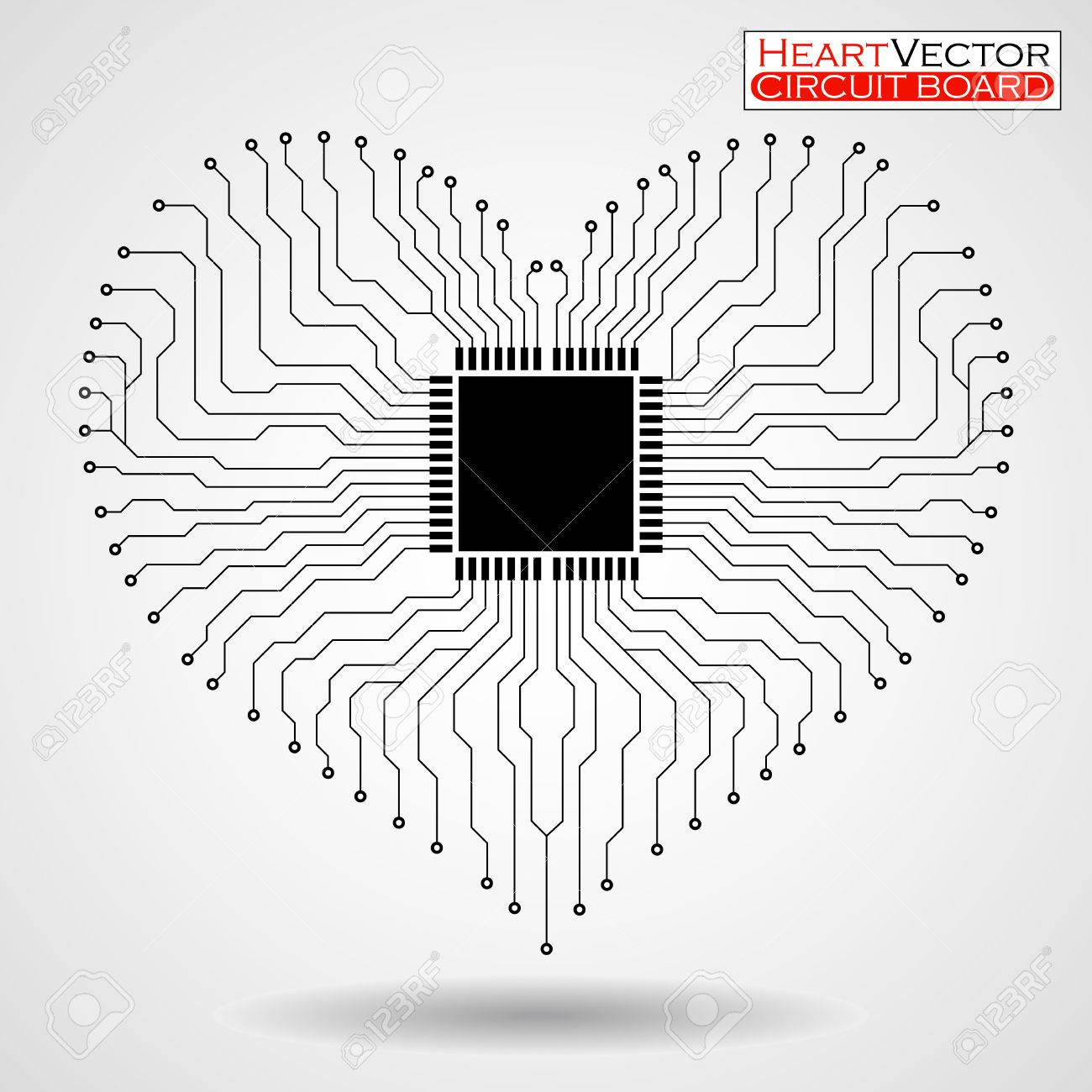 Abstract Electronic Circuit Board In Shape Of Heart Technology Symbols Stock Vector Background Illustration Eps 10