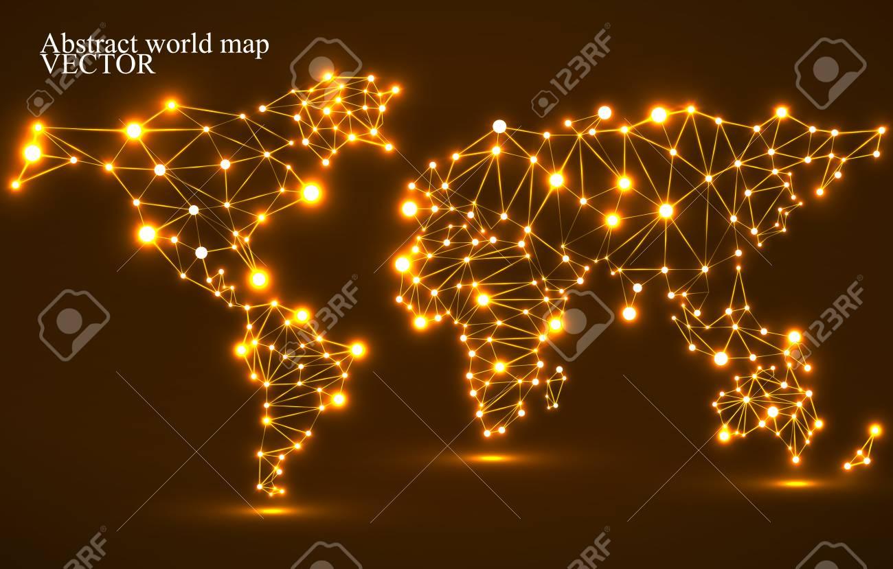 Carte Du Monde Lumineuse.Carte Du Monde Polygonale Abstraite Avec Des Points Lumineux Et Des Lignes Les Connexions Reseau