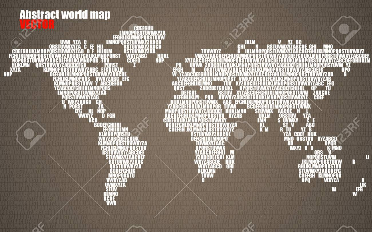 Abstract world map with letters of english alphabet vector abstract world map with letters of english alphabet vector background stock vector 73483645 gumiabroncs Images