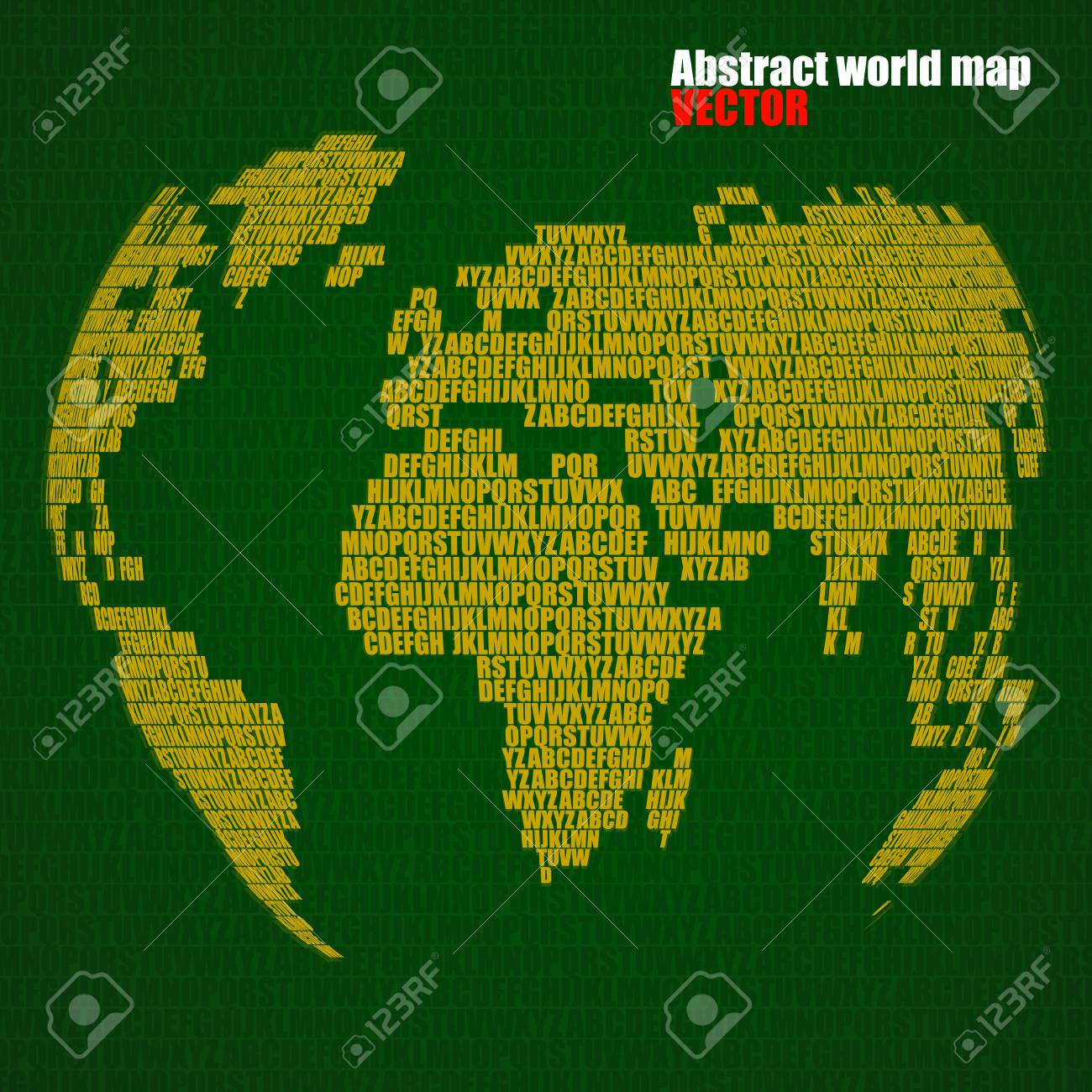 Map Of The World In English.Abstract World Map With Letters Of English Alphabet Vector Globe