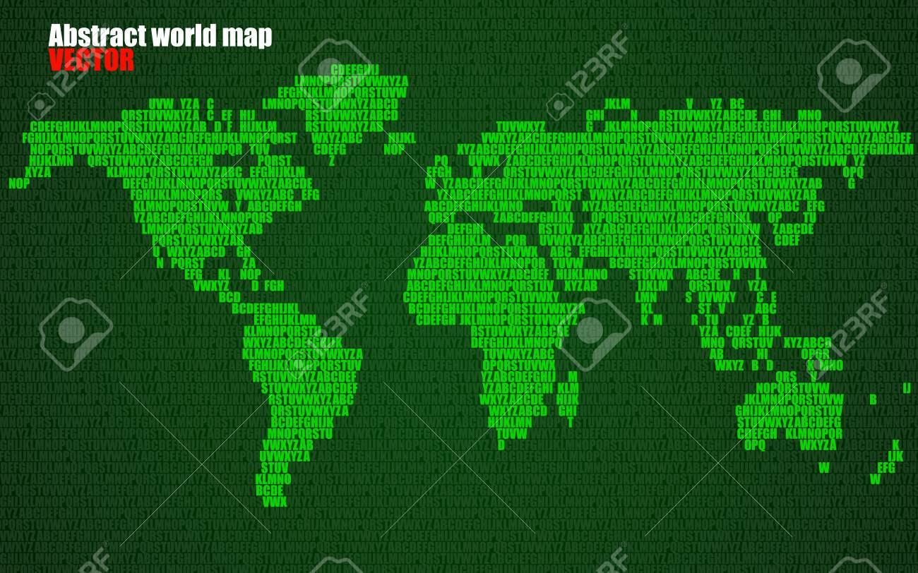 Abstract world map with letters of english alphabet in green abstract world map with letters of english alphabet in green vector background stock vector 73966460 gumiabroncs Images