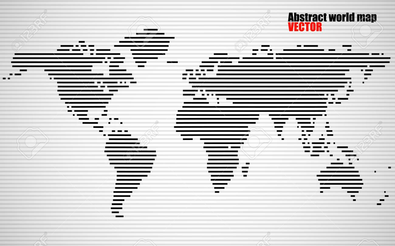 Abstract World Map With Lines World Stripes Map Vector Royalty