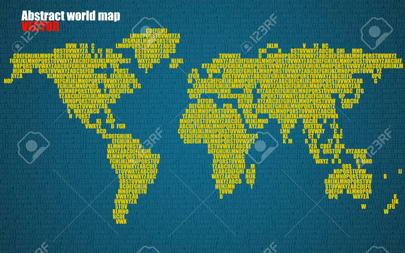 Abstract world map with letters of english alphabet vector abstract world map with letters of english alphabet vector background stock vector 74228782 gumiabroncs Choice Image