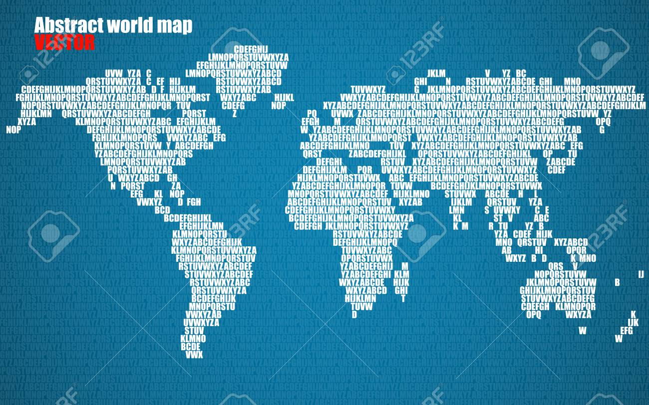 Abstract world map with letters of english alphabet vector abstract world map with letters of english alphabet vector background stock vector 74494890 gumiabroncs Images