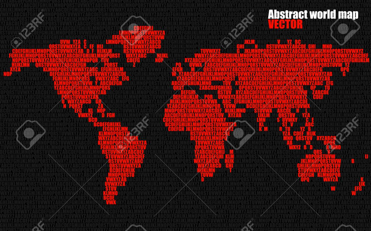 Abstract world map with letters of english alphabet vector abstract world map with letters of english alphabet vector background stock vector 74617190 gumiabroncs Images