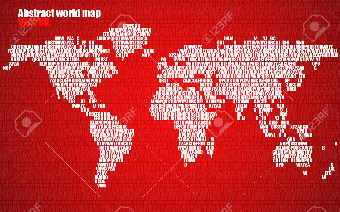 Abstract world map with letters of english alphabet vector abstract world map with letters of english alphabet vector background stock vector 74617191 gumiabroncs Images