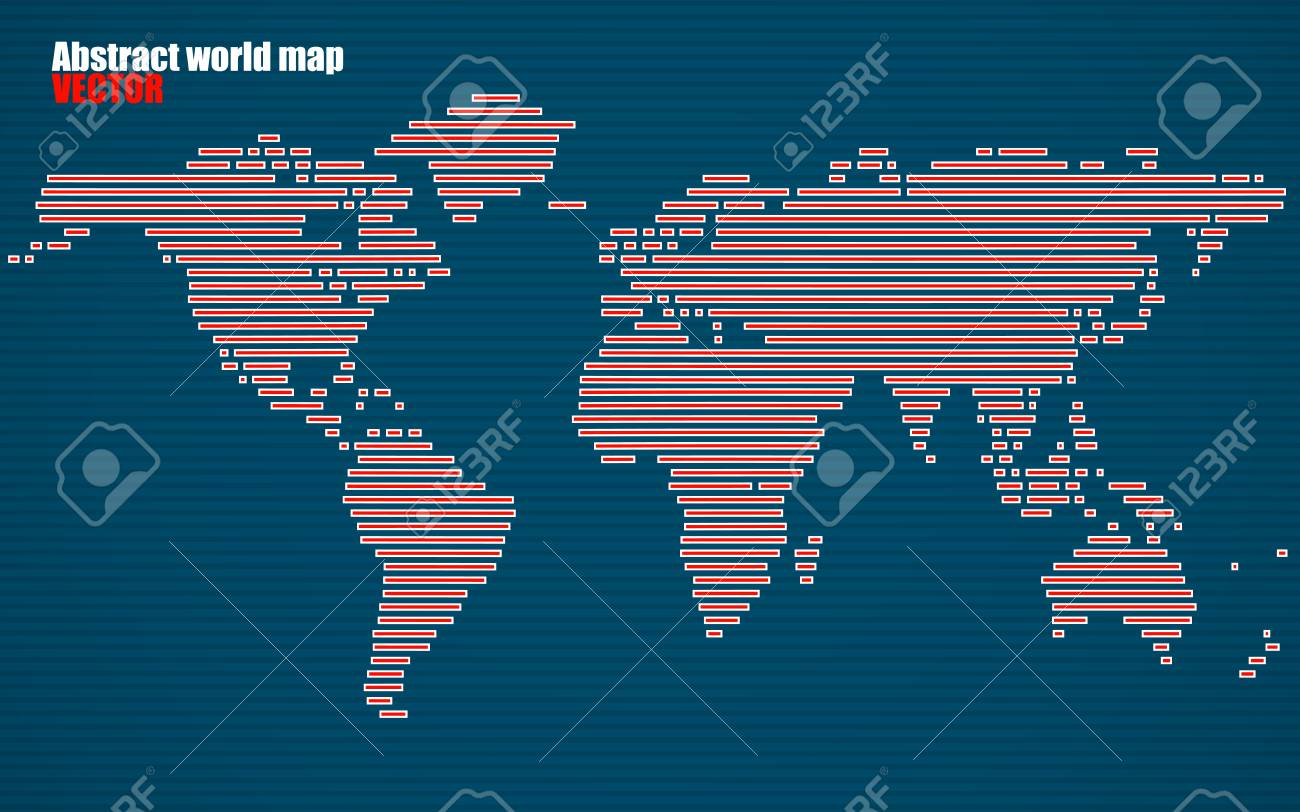 Abstract world map with lines world stripes map vector royalty abstract world map with lines world stripes map vector stock vector 75011063 gumiabroncs Images