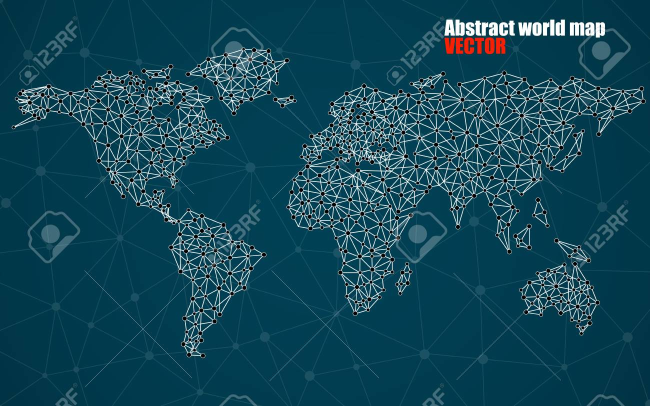 Abstract polygonal world map with dots and lines network abstract polygonal world map with dots and lines network connections stock vector 75731532 gumiabroncs Images