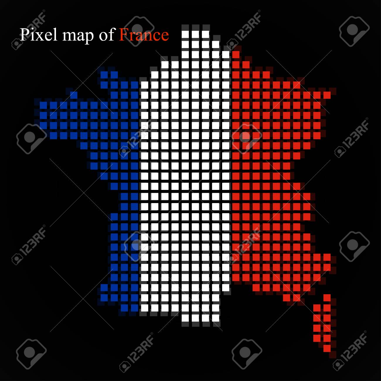 Pixel Map Of France With The Flag Inside Royalty Free Cliparts Vectors And Stock Illustration Image 76168211