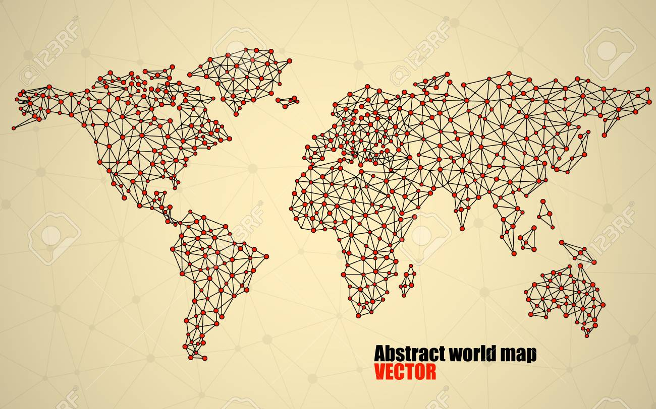 Abstract polygonal world map with dots and lines network abstract polygonal world map with dots and lines network connections stock vector 76574820 gumiabroncs Gallery