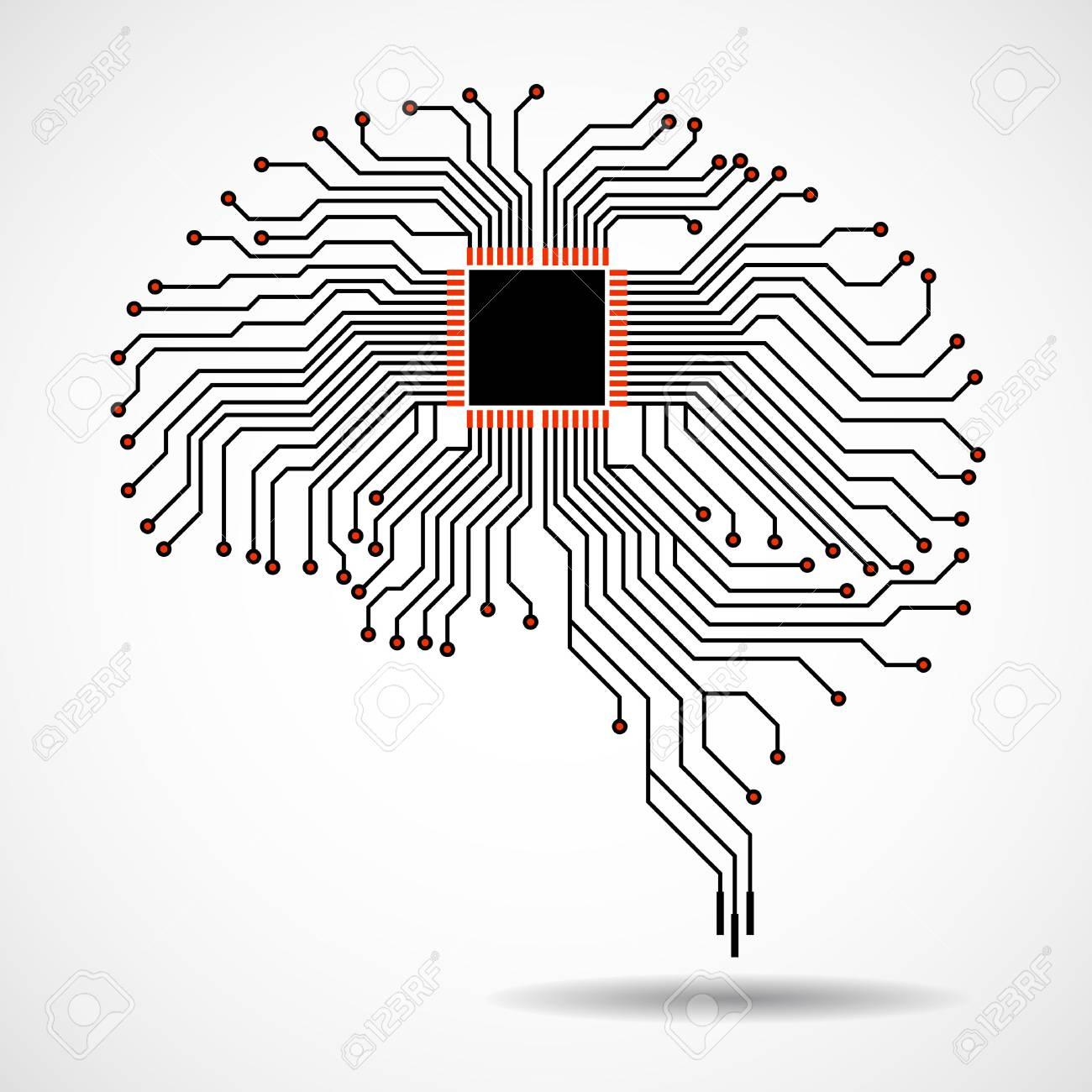 Abstract Technological Brain. Cpu. Circuit Board. Vector Royalty ...
