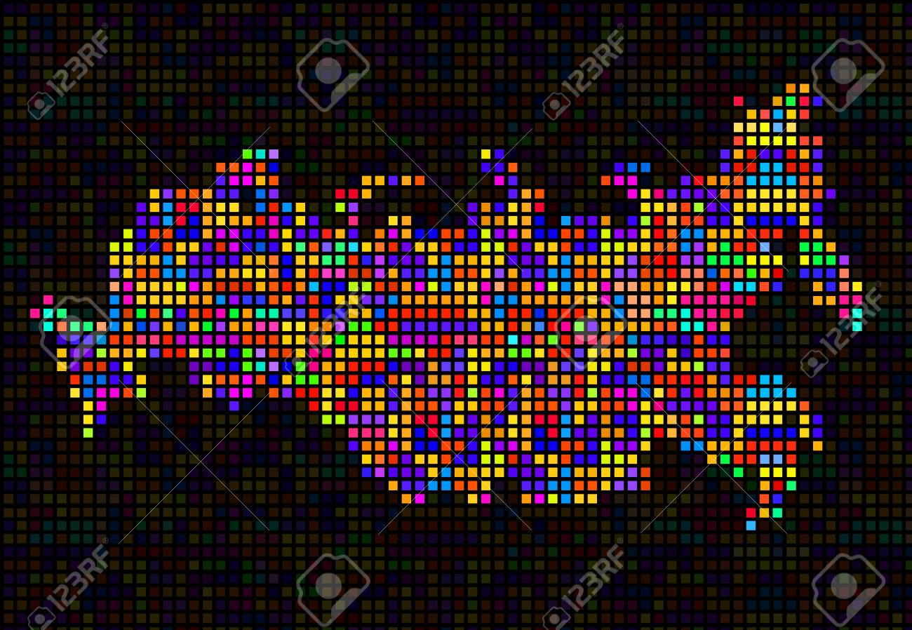 Abstract map of Russia, colorful pixels. Vector on korea map, china map, poland map, australia map, united kingdom map, france map, iraq map, soviet union map, europe map, africa map, italy map, asia map, saudi arabia map, romania map, india map, baltic map, canada map, japan map, eurasia map, germany map,