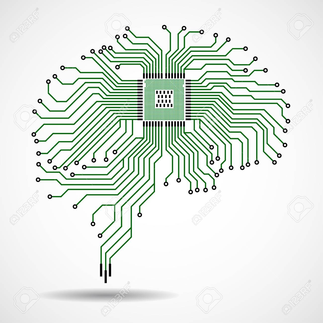 Abstract technological brain. Cpu. Circuit board. Vector - 95351277