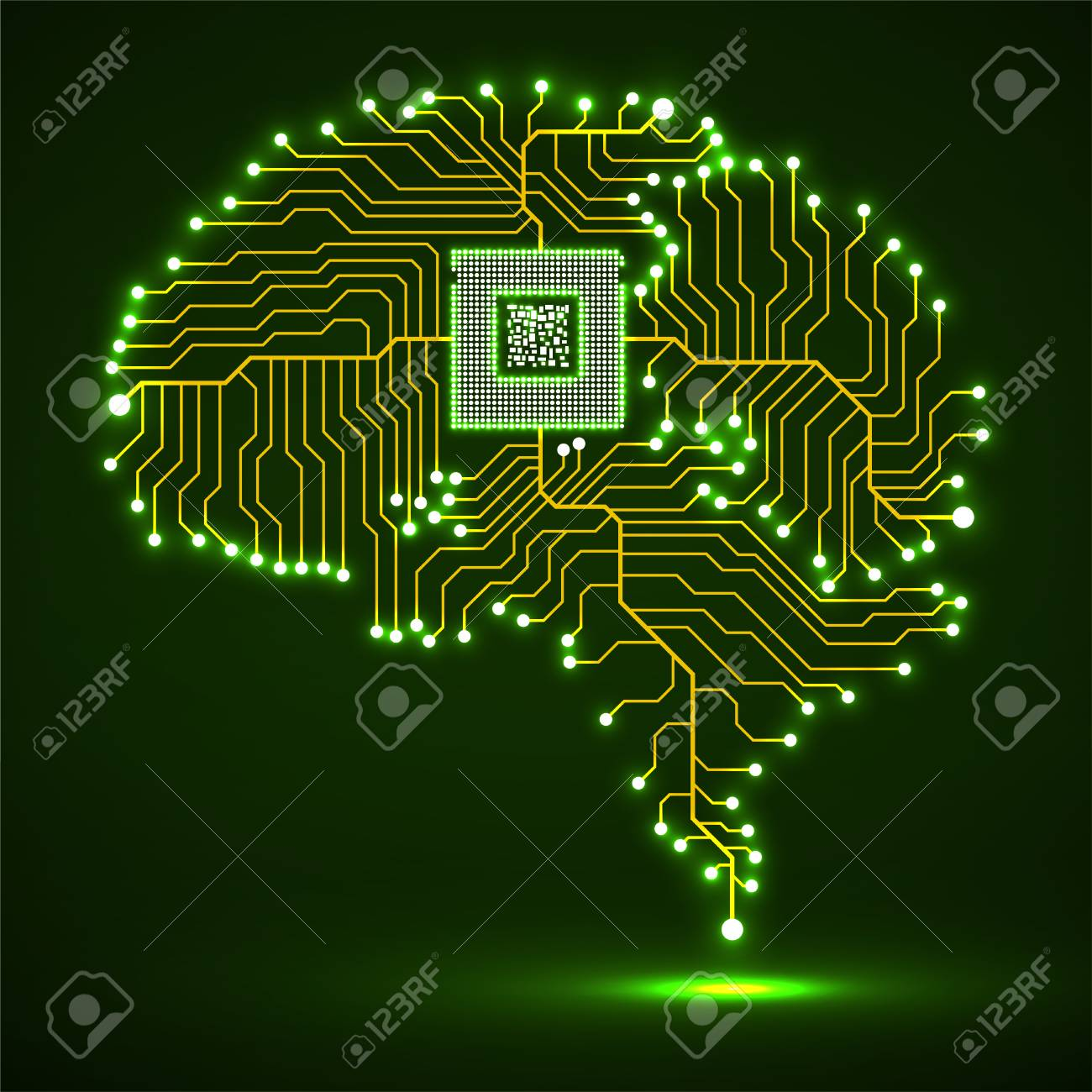 Neon brain. Cpu. Circuit board. Abstract technology background. Vector - 95351282