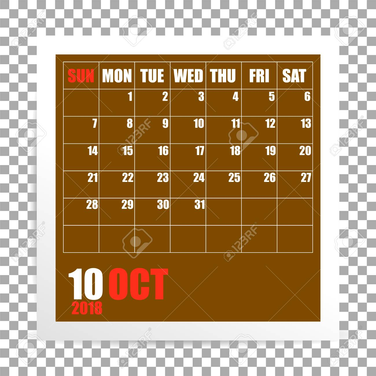 october 2018 calendar photo frame on transparent background autumn mounth vector stock vector