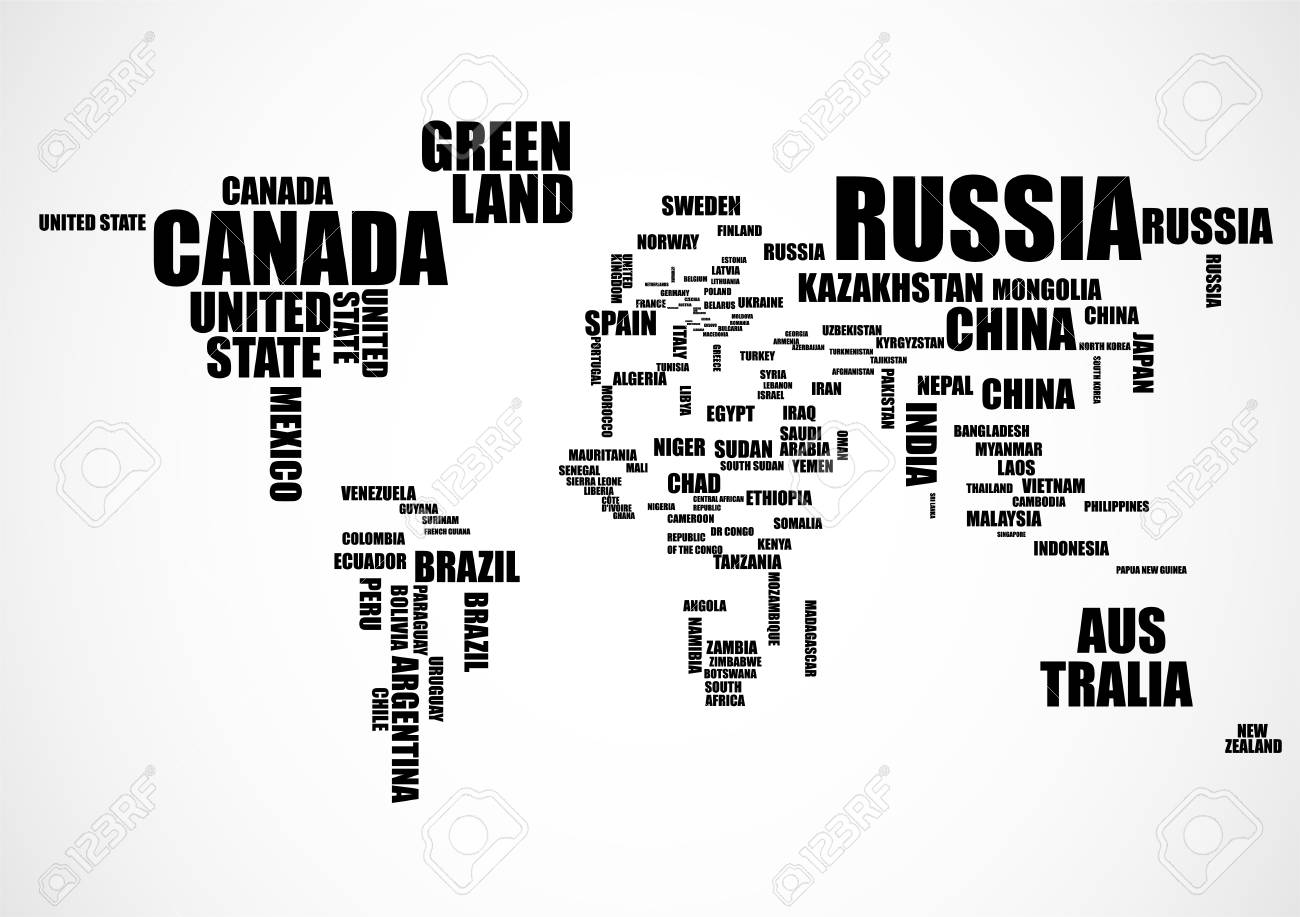 Typography world map with country names vector illustration royalty typography world map with country names vector illustration stock vector 96621252 gumiabroncs Images